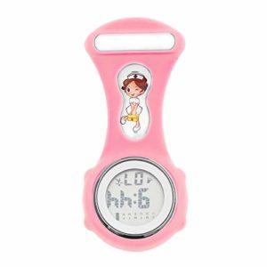 Cxypeng FOB Medical Watch,Calendrier électronique d'affichage Calendrier Calendrier Montre infirmière électronique, Montre en Silicone Lumineux-Rose,Montre d'infirmier Broche FOB des Infirmieres