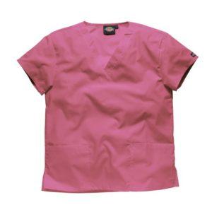 Dickies Workwear Chemise de médecin avec 2poches et col en V – rose – S