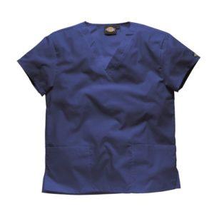 Dickies Workwear Chemise de médecin avec 2poches et col en V – bleu – L