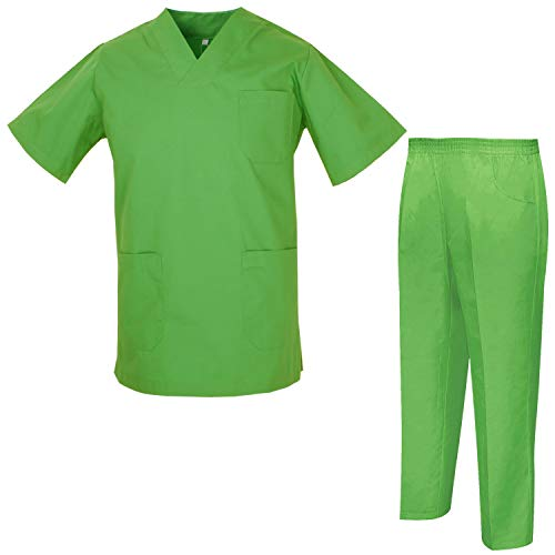 Misemiya – Ensemble Uniformes Unisexe Blouse – Uniforme Médical avec Haut et Pantalon – Ref.8178 – Large, Apple Green