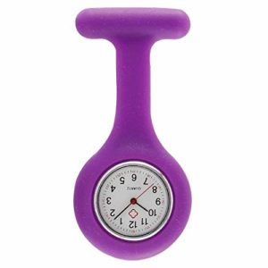 Montre de Poche infirmière Médecin,Montre numérique d'infirmière de silicone de mode, montre de quartz de montre de dames pour les médecins seulement-pourpre,Poche Infirmières Infirmiers Watch
