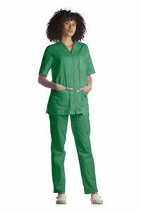 Tecno Hospital Tenue complète pour hôpital, blouse et pantalon, pour esthéticien, infirmier, médecin, unisexe avec fermeture éclair – Vert – XL