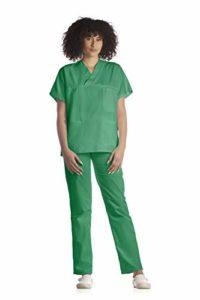 Tecno Hospital Tenue complète pour hôpital, unisexe, OSS, esthétique, infirmière, tunique et pantalon (Bleu, XS) Vert vert 2XS