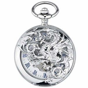 ZHJBD JIAN,Pocket Watch Montre Mécanique Automatique, Chiquenaude Creux Licorne Tarasque, Flip Classique Rétro Souvenir Montre Infirmière Étudiante Creuse. (Color : A)