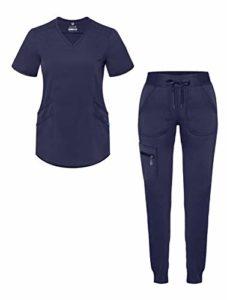 Adar Pro – Ensemble de gommage moderne pour femme – Col en V et pantalon de yoga – Bleu – Taille L