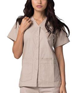 Adar Uniforms Uniformes Médicaux pour Femmes Double Poche Avant à Fermoir Blouse d'Infirmière Haut d'Hôpital – 604 Couleur: KKI | Taille: L
