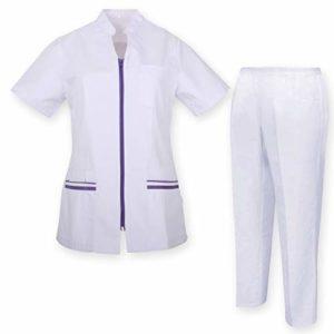 Misemiya – Uniforme Médical avec Haut et Pantalon Uniformes Médical Femme Manches Courtes – Ref.7028 – Large, Lilas