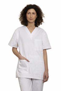 Uniforme Médicale Unisexes pour Hommes et Femmes – Ensemble: Haut et Pantalons Uniforme de la Santé pour Médecin Infirmières Dentistes – Tissu 100% Coton Sanforisé – Certif. Oeko-Tex (Blanc, XS)