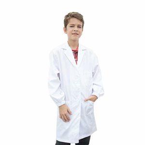 Icertag Blouse de Laboratoire pour Enfants, Doctor Coat, Blouse en Sciences médicales avec Boutons de sécurité, Tunique Unisexe Blanche en Coton pour étudiants, Blanc, Hauteur:110-120cm