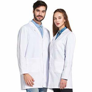 Icertag Blouse de Laboratoire,Blouse de médecin Unisex,Blouse de médecin pour Femme Hommes,Blouse Blanche pour Femme,Adaptée aux étudiants,Laboratoire Scientifique,Infirmière,Cosplay (Large)