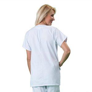 Label blouse Tunique médicale Col rond 3 poches manches courtes Piqué aspect cotelé moderneCouleurs Blanc Pressions inoxydables Lavage Machine 90 degrés ou industriel T00-34