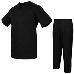 Misemiya – Ensemble Uniformes Unisexe Blouse – Uniforme Médical avec Haut et Pantalon – Ref.8178 – X-Small, Noir
