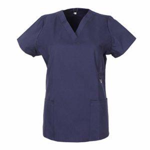 Misemiya – Blouse Femme Manches Courtes Uniforme Clinique HÔSPITAL Nettoyage VÉTÉRINAIRE SANTÉ HÔTELLERIE Ref.707 – Large, Bleu Marine