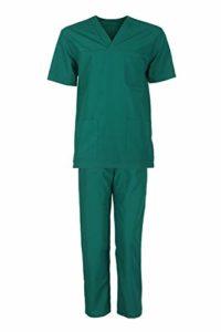 Stenso M3 Ensemble de vêtements de travail médicaux unisexe avec haut et pantalon – Vert – 60