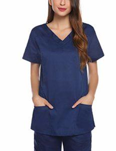 Aibrou Blouse Chimie Laboratoire à Manches Courtes Lab Blouse Coton Médecins Scientifique Femmes Infirmière Uniforme Costume Vêtements Médicaux, Bleu Marine, XXL