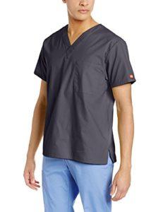 Dickies Signature blouse médicale à col en V pour homme – gris – Taille 5XL