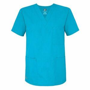 Adar Uniforms Uniformes Médicaux Unisexe Col V Tunique 3 Poches Haut d'infirmier Blouse d'Hôpital, Turquoise (Turquoise), 2X-Poitrine:129-137cm,Hanche:127-134cm