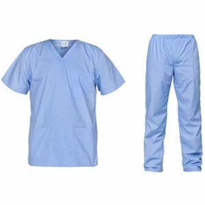 B-well Cesare Uniforme Médicale Unisexes Ensemble: Haut et Pantalons + Blouse Medicale Femme/Homme – Tenue Aide Soignante Professionnelle (Bleu, M)