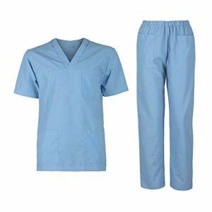 DINOZAVR M3 Uniforme Médicale Unisexes Ensemble: Haut et Pantalons – Bleu Clair M