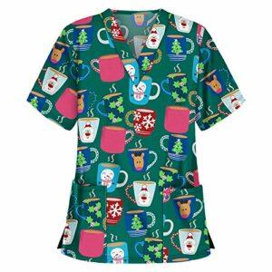 Tee Shirt Manche Court Femme Coton avec Col V Haut D'infirmière Femme Elegant et Chic Chemise Imprimée Ample Tee Shirt Classique Printemps-été Tunique Medicale Uniforme pour Femme