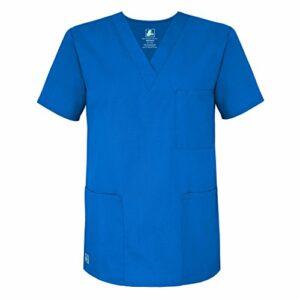 Adar Uniforms Uniformes Médicaux Unisexe Col V Tunique 3 Poches Haut d'infirmier Blouse d'Hôpital, Bleu (Regal Blue), 4X-Poitrine:149-157cm,Hanche:147-155cm