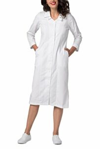 Adar Universal Longue Blouse Médicale Femme – Robe avec Col Brodé – 2801 – White – 16