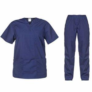 B-well Cesare Uniforme Médicale Unisexes Ensemble: Haut et Pantalons + Blouse Medicale Femme/Homme – Tenue Aide Soignante Professionnelle (Marine, M)