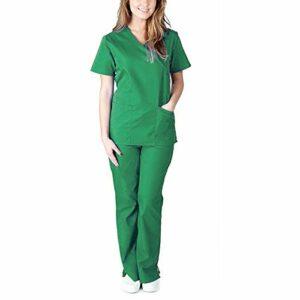 DSDZ Uniforme Médicale Unisexes pour Hommes et Femmes – Ensemble: Haut et Pantalons Uniforme de la Santé pour Médecin Infirmières Dentistes Décontracté et Confortable Col V Uniforme