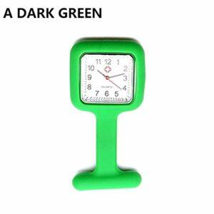 FGMGFTG Montre à Broche Durable Infirmière Montre en Silicone Broche Tunique Fob Montre avec Batterie Gratuit Infirmière Médecin Paramédical Médical (Color : Style A Dark Green)