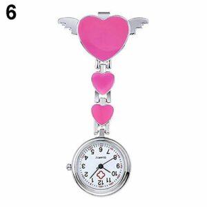 FGMGFTG Montre à Broche Durable Infirmière Montre étanche Mignon Love Heart Quartz Montre Barrette Broche Fob Ange Montre de Poche Infirmière Médecin Paramédical Médical (Color : Pink)