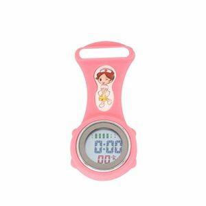 FGMGFTG Montre à Broche Durable Mini Lumineux numérique en Silicone Calendrier infirmière Montre Bracelet Montre de Poche Infirmière Médecin Paramédical Médical (Color : Pink)