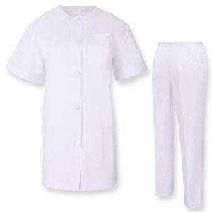 Misemiya – Ensemble Uniformes Unisexe Blouse – Uniforme Médical avec Haut et Pantalon SANTÉ HÔTELLERIE – Ref.8318 – X-Large, Blanc