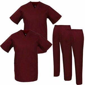 Misemiya – Pack * 2 Pcs – Ensemble Uniformes Unisexe Blouse – Uniforme Médical avec Haut et Pantalon – Ref.2-8178 – Medium, Grenat
