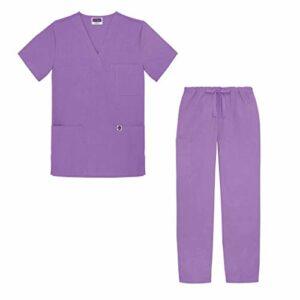Sivvan Tenue Médicale Unisexe Classique – Blouse Col en V & Pantalon à Cordon – S8400 – Lavender – M