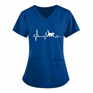 Siwanm Vêtements Médicals Blouse Médical Femme Chat Imprimee Soins Infirmiers Uniforme Manches Courtes Dessin Chat Motif Tunique Médicale De Travail Col en V Infirmière Poches Top Uniforme