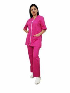 Tecno Hospital Tenue complète pour hôpital, blouse et pantalon, pour esthéticien, infirmier, médecin, unisexe avec fermeture éclair – Rose – L