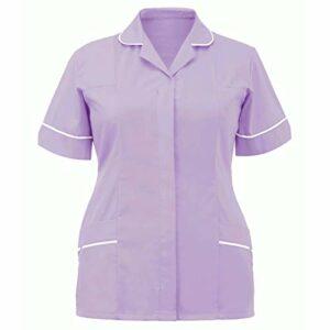 Tunique Blouse Vêtements Femme Uniforme Coton à Manches Courtes Revers Hauts de Travail Uniforme Infirmière Aide Tenue Avoir des Poches Uniforme d'infirmière Professionnelle