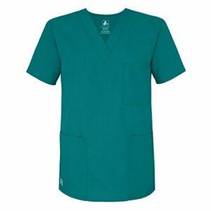 Adar Uniforms Uniformes Médicaux Unisexe Col V Tunique 3 Poches Haut d'infirmier Blouse d'Hôpital, Bleu (Teal Blue), S-Poitrine:103-108cm,Hanche:96-102cm