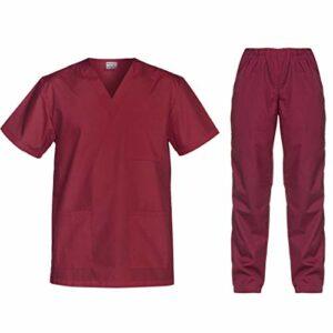 B-well Cesare Uniforme Médicale Unisexes Ensemble: Haut et Pantalons + Blouse Medicale Femme/Homme – Tenue Aide Soignante Professionnelle (Rouge, L)