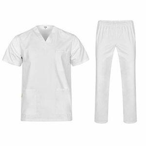B-well Colombo Ensemble de toilette unisexe avec tunique à enfiler + pantalon à enfiler Ensemble médecin uniforme veste à enfiler haut avec pantalon Vêtement médical – Blanc – X-Small