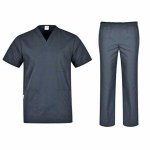 B-well Colombo Ensemble de toilette unisexe avec tunique à enfiler + pantalon à enfiler Ensemble médecin uniforme veste à enfiler haut avec pantalon Vêtement médical – Gris – XXX-Large