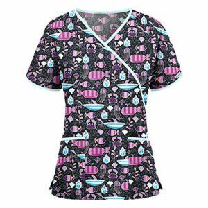 DSDZ Uniforme médical Blouse Infirmiere Motif Coeur d'amour Haut d'infirmière Uniforme médical Blouse Tunique de Travail médicale 3 Poches Manches Courtes Boutons Pression
