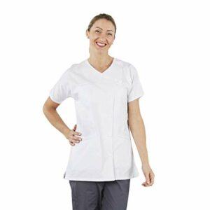 Hurry Jump Tunique médicale Infirmière esthéticienne Aide soigante Pratique et résistante Fermeture Pressions Poches Passes poiles. T1 / 38