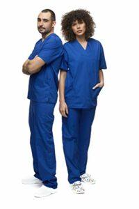 Mazalat , Ensemble uniforme médical unisexe avec tunique et pantalon – Bleu – Small
