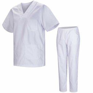 Misemiya – Ensemble Uniformes Unisexe Blouse – Uniforme Médical avec Haut et Pantalon – Ref.8178 – Large, Blanc