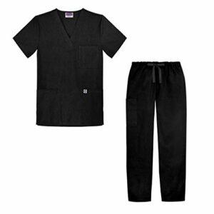 Sivvan Tenue Médicale Unisexe Classique – Blouse Col en V & Pantalon à Cordon – S8400 – Black – 4X