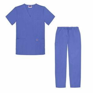 Sivvan Tenue Médicale Unisexe Classique – Blouse Col en V & Pantalon à Cordon – S8400 – Ceil Blue – M
