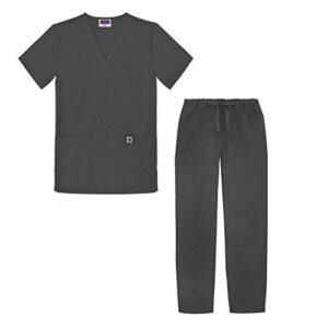 Sivvan Tenue Médicale Unisexe Classique – Blouse Col en V & Pantalon à Cordon – S8400 – Charcoal – M