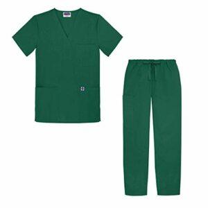 Sivvan Tenue Médicale Unisexe Classique – Blouse Col en V & Pantalon à Cordon – S8400 – Hunter Green – XL