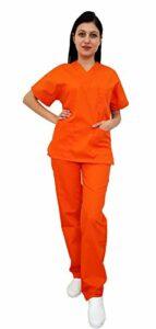 Tecno Hospitalier unisexe pour hôpital, esthétique, infirmière, tunique et pantalon, personnel arborier, personnel médical, opérateur sanitaire, opérateur scolaire (orange, 7XL)